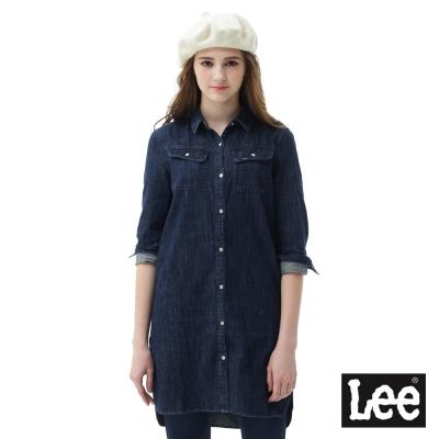 Lee 牛仔襯衫修身長版設計-女款-藍