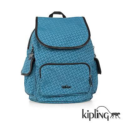 Kipling 後背包 藍綠十字印花-中