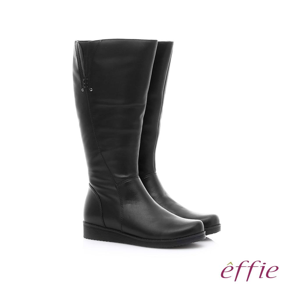 effie 保暖靴 真皮側拉鍊舒適奈米長靴 黑色