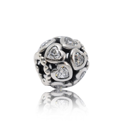 Pandora 潘朵拉 水鑽愛心鏤空 純銀墜飾 串珠