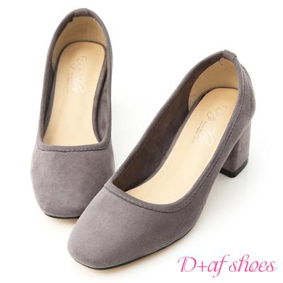 D+AF 秋氛時尚.素面絨料小方頭高跟鞋*灰
