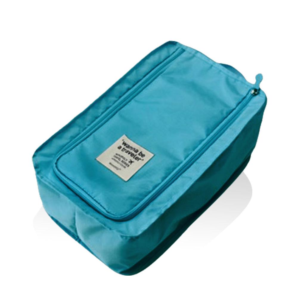 旅行首選 防水鞋盒 鞋子收納袋(水藍色)