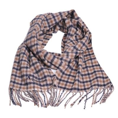 Aquascutum 義大利製100%喀什米爾經典品牌LOGO刺繡圍巾(卡其格)