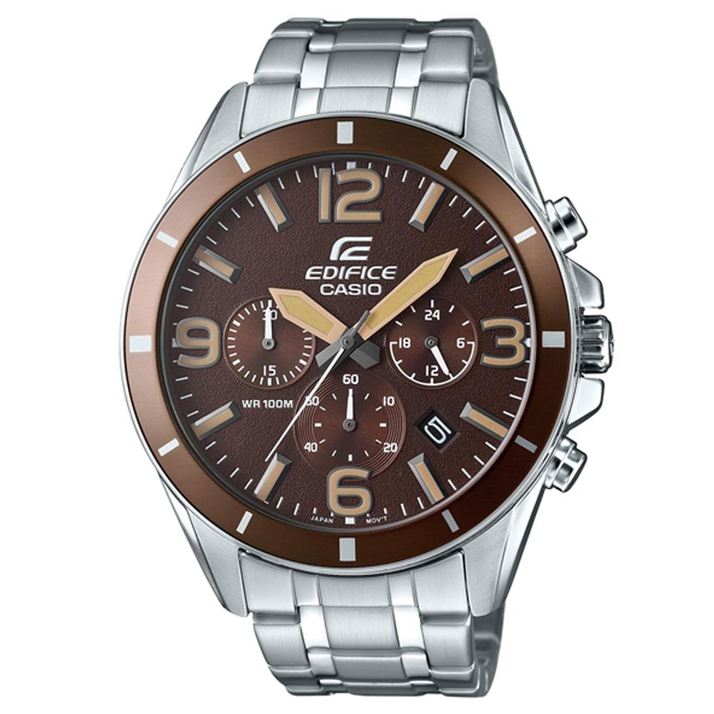 EDIFICE 都會時尚魅力落帥氣指針腕錶(EFR-553D-5B)咖啡面/47mm