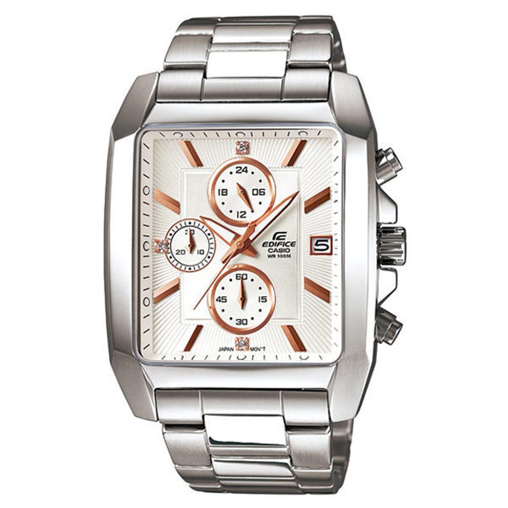 CASIO EDIFICE 簡約風尚都會晶鑽運動錶(白)-37X48mm