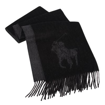RALPH LAUREN POLO 經典大馬LOGO雙色羊毛圍巾-黑色