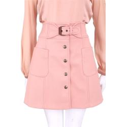 RED VALENTINO 粉色排釦設計高腰裙