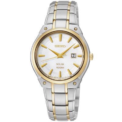 SEIKO 極簡風時尚太陽能女錶(SUT128P1)-銀/雙色版/30mm