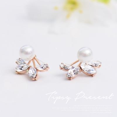 微醺禮物 925銀針 水鑽 珍珠鑽葉 耳環