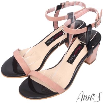 Ann'S氣質氛圍-雙色漆皮顯瘦粗跟涼鞋-粉