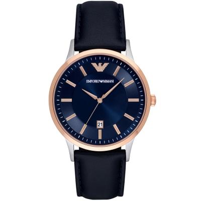 ARMANI 亞曼尼經典質感時尚真皮手錶-藍X玫瑰金/43mm