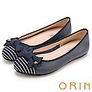 ORIN 微甜新時尚 牛皮拼接條紋布面平底娃娃鞋-藍色