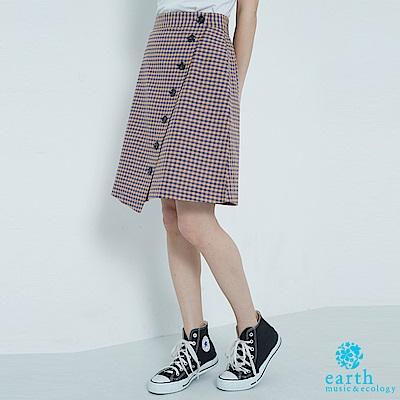 earth music 細格紋排釦短裙