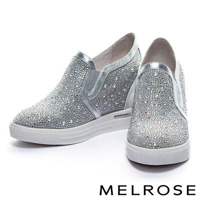 休閒鞋-MELROSE-異材質拼接晶鑽內增高厚底休閒鞋-銀