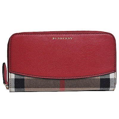 BURBERRY House 格紋皮革環繞式拉鍊皮夾(紅/駝格紋)