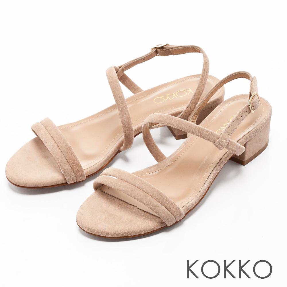 KOKKO -仲夏夜之夢曲線麂皮粗跟涼鞋-杏裸膚
