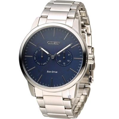 CITIZEN 光動能穩重風範時尚腕錶(AO9040-52L)-藍/44mm