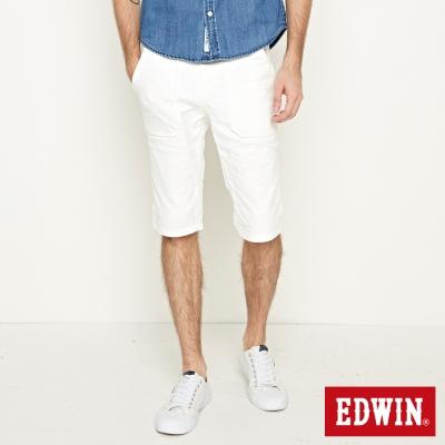 EDWIN 迦績褲 E-F迷彩短褲-男-白色