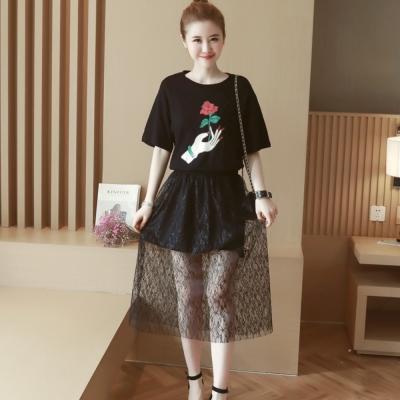 中大尺碼 手玫瑰印花上衣加網紗蕾絲透視長裙套裝XL~4L-Ballet Dolly