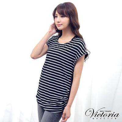 Victoria-金屬拉鍊條紋短袖T-女-黑白條