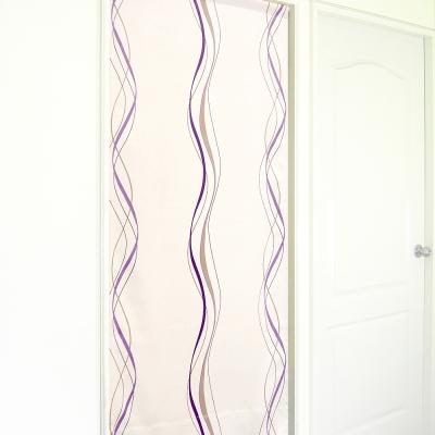 布安於室-多曲線條風水簾-芋紫色底