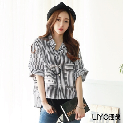 LIYO理優條紋開襟五分袖襯衫(黑)