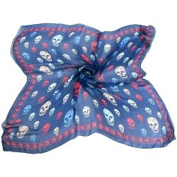 Alexander McQueen Skull 配色骷髏印花絲質披肩(藍色)