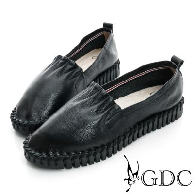 GDC舒適-素面百搭厚底真皮懶人休閒鞋-黑色