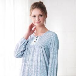 羅絲美睡衣 - 奇異花火長袖洋裝睡衣(水藍色)