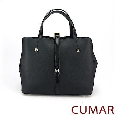 CUMAR 弧形鑽飾手提/斜背包-黑色