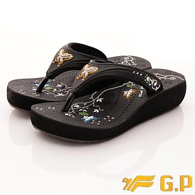 GP時尚涼拖-舞蝶夾腳拖鞋款-SE537W-10黑色(女段)