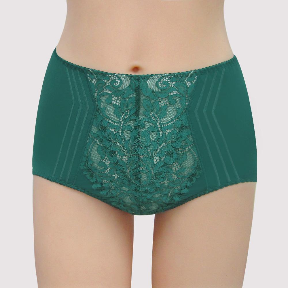 曼黛瑪璉 包覆提托 雙弧  高腰三角修飾褲內褲(內斂綠)