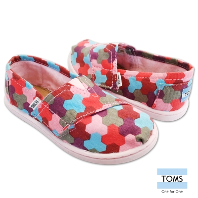 TOMS 繽紛積木懶人鞋-幼童款(粉紅)