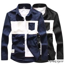 小猴子的賣場 時尚百搭款撞色拼接設計長袖襯衫-2色