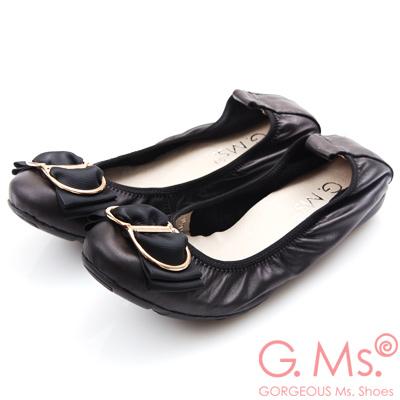 G.Ms. 牛皮織帶蝴蝶結彎折娃娃鞋-黑色