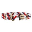 PAUL HEWITT 德國出品 PHREP 藍白紅尼龍繩編織 古銅船錨手環
