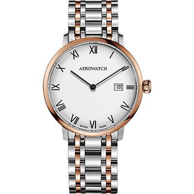 AEROWATCH Heritage系列尊爵時尚石英腕錶-白x雙色版/40mm