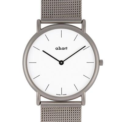 a.b.art KL系列 超薄極簡不鏽鋼編織帶腕錶-白/38mm
