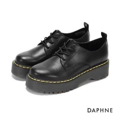 達芙妮DAPHNE 休閒鞋-繫帶拼接軍風厚底休閒鞋-黑