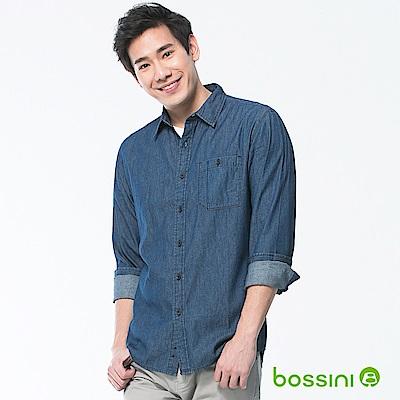 bossini男裝-牛仔長袖襯衫01靛藍