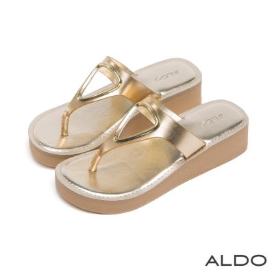 ALDO-原色印加三角鏤空金屬夾腳厚底涼鞋-名媛金