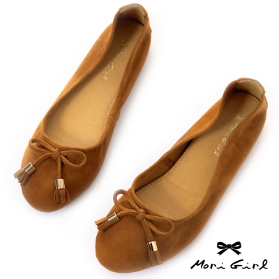 Mori girl全真皮蝴蝶結加厚軟墊娃娃鞋 棕