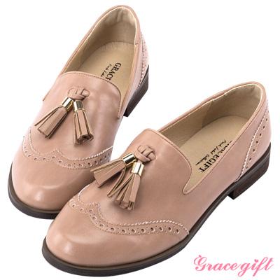 Grace gift-牛津雕花雙流蘇樂福鞋 深粉