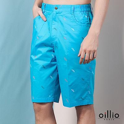 歐洲貴族oillio 休閒短褲 品牌印花 簡約風格 藍色