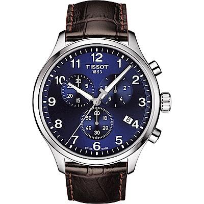 TISSOT天梭 韻馳系列CHRONO XL 大徑面計時腕錶-藍x咖啡/45mm