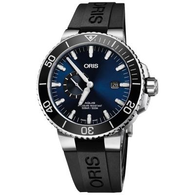 Oris豪利時 Aquis 小秒針500米專業潛水機械錶-藍x黑/45.5mm