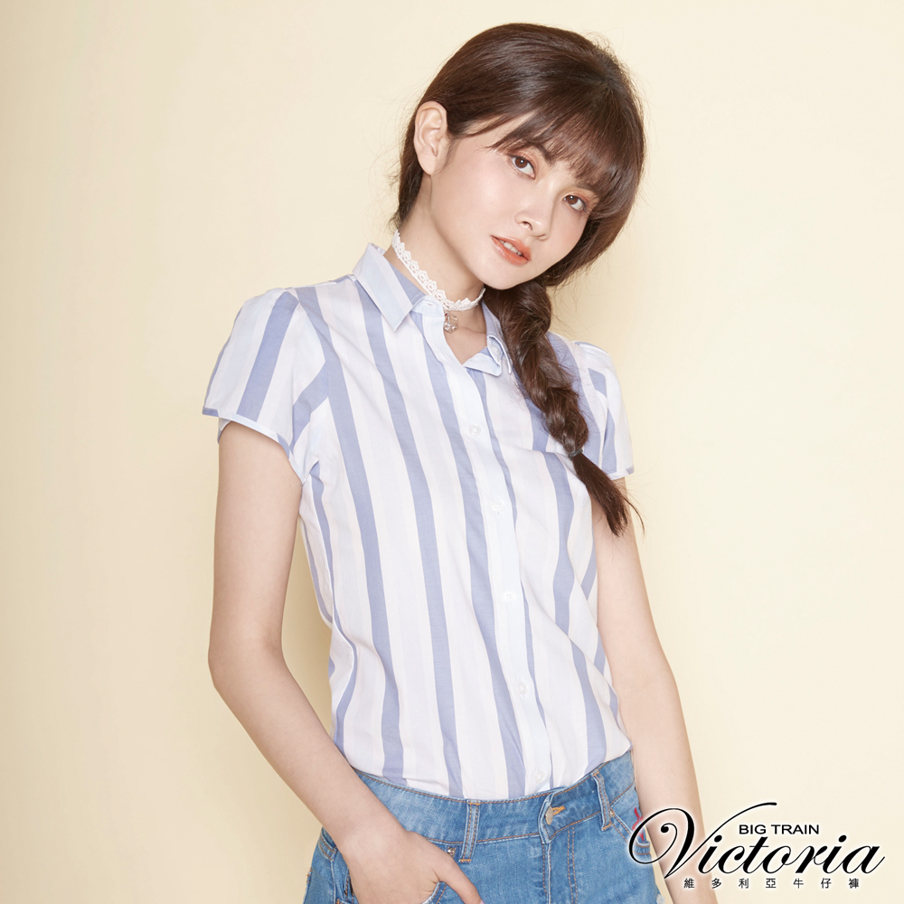 Victoria 基本型花苞短袖襯衫-女-淺藍條