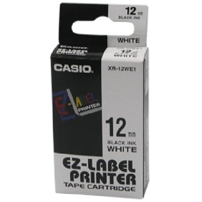 CASIO XR-12WE1白底黑字標籤帶12m/m×8M