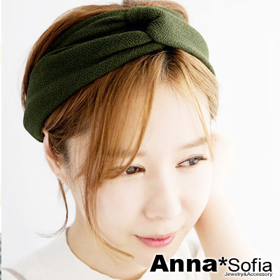 AnnaSofia-質感細砂紋交叉結-彈性寬髮帶