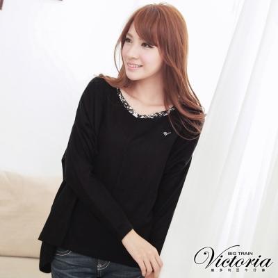 Victoria 針織拼接印花寬版上衣-女-黑色